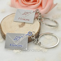 2014 Cheap Lovers Keychains Envelope I love you Key Chains Key Rings Christmas Alloy Charms free shipping 25FMHM145#S5