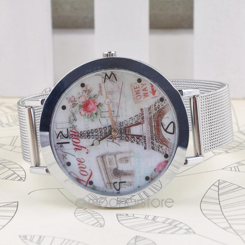 Fashion Elegant Women Analog Quartz Stainless Steel Large Case Silver Mesh Band Wrist Watch YL*MPJ578#S9(China (Mainland))