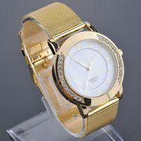 New! most popular luxury brand gold stainless steel mesh belt watch Ms. Diamond quartz watch free shipping Y20*MHM386#M2