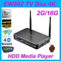 Eweat EW802 Amlogic S802 Quad Core 2.0GHz 2G/16G Android4.4 Bluetooth HDMI Ethernet SPDIF 2.4G/5G Dual Band WiFi Media Player
