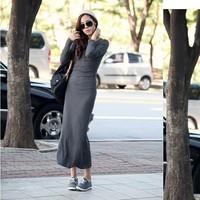 2014 Autumn Winter Long-sleeve Dress Slim Waist Women Dresses Fashion Basic One-piece Dress Free Shipping