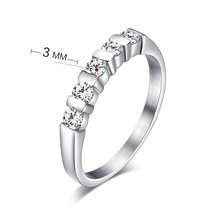 2015 Christmas Gift Love Design Rings For Women Stainless steel wedding rings set with stunning CZ
