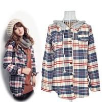 2014 Winter Shirt Women Fashion Cotton Plaid Blouse Shirt Flax Casual Long Sleeve Loose Female Blouses Free Shipping SV18 8220