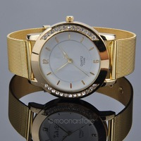 2014 Rushed New Relojes Women Watches High Quality gold Watches Mesh Full Steel Band Quartz Charm Bracelet Smart Y20*MHM386#S4