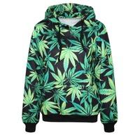 New Womens Hoodie Galaxy Marijuana Leaf Sweater Winter Coat Printed 3D Weed Leaf Tops Long Sleeve Pullover Causal Sweatshirts