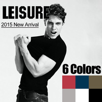 2014 Basic Design, Classic V-Neck Solid T-Shirts For Men, Masculino Pure Cotton Laycra Casual Tees Tops, S-XXXXL, Free Shipping