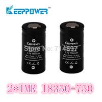 free shipping 2 pcs KeepPower IMR 750mah protected 18350 rechargeable  battery flashlight li ion 3.7v for flashlight headlamp