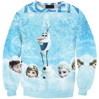 Drop Ship Hot sale 2014 Autumn/winter Cute frozen olaf Clothes cartoon sweatshirt print 3d hoodie pullovers for women/men tops
