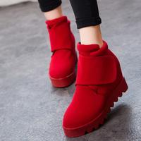 winter snow boots winter elevator platform wedges boots fashion vintage velcro platform ankle boots female winter shoes