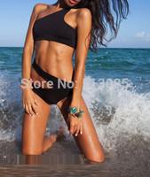 2015 New High Waist Bikini Set, Push Up One Shoulder Swimwear Swimsuit, Cut Out Bathing Suit Biquini