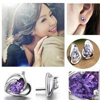 New Fashion Crystal Heart Stud Earrings Women White&Purple Crystal Heart Silver Plated Stud Earring Bridal Wedding Earrings Gift