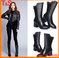 2015 Hot  Real Leather Mid-Calf Boots Rivets Women Real Leather Thick Heel Shoes Ladies Motorcycle Boots with Zipper 666-B80