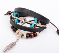 Wholesale 6piece Multilayer Wrap Black Leather Charm Bracelet Love Men Women Feather Cowhide Wooden Bead Bracelet Best Gift