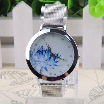 2015 бесплатная доставка круглый чехол, сетка стальная полоса, кварцевые наручные простые часы для женщин MPJ578