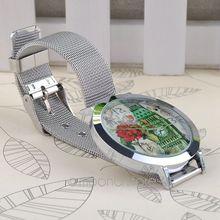 2014 FreeShipping Round Case Mesh Steel Band Quartz Wrist simple watch for Women MPJ578