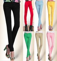 Drop Ship Colored Stretch Fashion Female Candy Colored Pencil Women's Pants Sexy Elastic Cotton Jeans Pants Denim Trousers