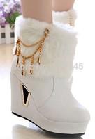new Fashion Women Warm short plush Winter Shoes flock chains charm Ankle snow Boots Platform christmas high feel8 9 10cm boots