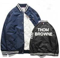 THOMS  BROW Thicker version of 3M reflective stripes sleeve cotton jacket male baseball uniform jacket