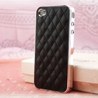 Hottest! Fashion Slim Simple Vintage PU Leather Soft Sheep Skin Grid Case For iphone 5 5s 5g Back Cover Drop Free Ship ac1034