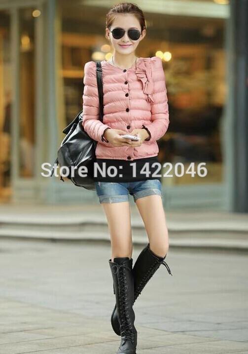 Fashion Woman Winter Coat Down Jackets Women Long Sleeve O Neck Slim Short Parkas Candy Color M-XXL Plus Size Overcoat WCOoo40(China (Mainland))