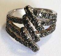 Black spinel three layer stereo ring fashion desgin jewelry ALW1648