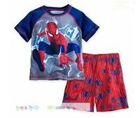 2014 New Boys Clothing Set SpiderMan cartoon short-sleeved T-shirt + shorts 2pcs/set home pajamas Kids