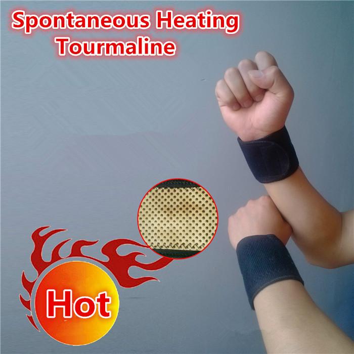 Tourmaline Self-heating Wrist Support Bracers 2pcs/box Adjustable Wristband for Health Care Turmalina Spontaneous Heating Masaje(China (Mainland))