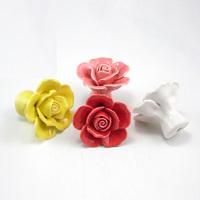 5PCS/lot Flower Ceramic Knobs Bedroom Kitchen Furniture Door Cabinet Cupboard Knob Pull porcelain Rose Drawers Handle