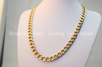 High End Fashion Men's Golden Filled Necklace 12mm Heavy 24K Yellow Link Chain Cool Men's Jewerly Free Shipping