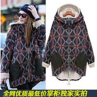 Winter thermal plaid berber fleece plus velvet thickening loose medium-long plus size wadded jacket cotton-padded jacket