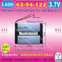 [L400] 3.7V,6400mAH,[4394122] PLIB (polymer lithium ion battery / SONYY cell) Li-ion battery for TABLET PC,power bank,E-BOOK