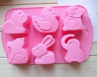 DIY kitchen gadget 6 even cartoon animal silicone cake mold chocolate mold dessert mold