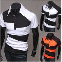Free ShippingBritish temperament color slim long sleeve POLO polo shirt