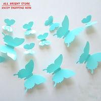 12Pcs/Lot Vinyl 3D Blue Butterflies For Wall Art Decal Removable Christmas Home Decoration DIY Beautiful Wall Stciker Home Decor