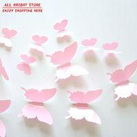 12Pcs/Lot Vinyl 3D Butterflies Wall Stickers Decal Removable Christmas Decoration DIY Beautiful Wedding Decoration Home Decor