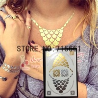 Free shipping Metalic Silver Gold flash tattoo necklace Women Choker Bracelet  Temporary  Sexy Tatouage Tattoos Body Art