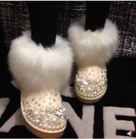 Female snow boots platform slip-resistant fox fur snow winter boots thermal boots female boots handmade rhinestone