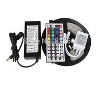 New arrival 5M RGB led Strip 5050 SMD 60led/m Flexible Waterproof + 44key Remote + 12V Transformer For Home Decoration FreeShip