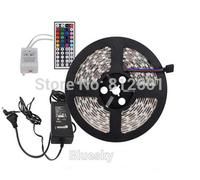 5M SMD 5050 RGB 300Leds LED Flexible Strip Light and 44key IR Remote and 12V 5A Power Supply EU US UK AU 60leds/m free shipping