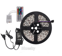 5M SMD 5050 RGB 300Leds LED Flexible Strip Light and 44key IR Remote and 12V 6A Power Supply EU US UK AU 60leds/m free shipping