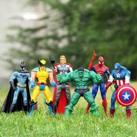 The Avengers 6 pcs/lot Captain America Wolverine Thor Spiderman Batman 14cm Action Figure Toy,  Action Figure, Toys For Boys