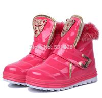 2015 winter new children's cartoon fox fur snow boots warm cotton-padded shoes for girls / Children snow boots size 27-36