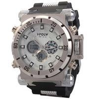 Luxury HPOLW Brand Men Casual Sports Watch Dual Time Quartz Digital Watch High Rubber Band Wristwatches Clock Men