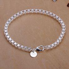 box shape chain rock style women CH283# mens bracelets 2014 silver plated tiny love 925 silver bracelet men bracelets