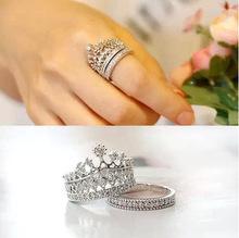 2Pcs/set Elegant crystal Rhinestone imperial crown circle wedding rings for women fashion jewelry  quality Xmas gift drop free