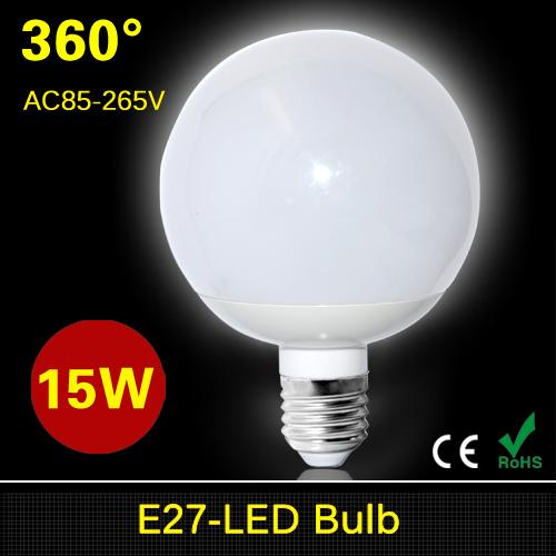 1Pcs 100% Full Product Samsung SMD5730 E27 15W LED lamp 360 Degree AC 85V - 220V High Power LED Ball Bulb Chandelier light R90(China (Mainland))