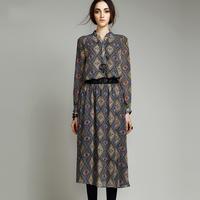 2014 Autumn and winter women's slim printed chiffon dress fashion high quality elegant pleated dress with long sleeve