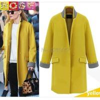 2015 Brand New Autumn And Winter Women Casual Jacket Slim Plus Size Female Long Section Windbreaker Woolen Coat XXL