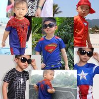Cartoon Hero Kids T-shirt Spider-Man , Iron Man , Captain America Superman Children's   T-shirt