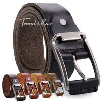 37mm Mens Boys 5 Colors Top Grain Genuine Leather Cowhide Waist BELT Single Prong Metal Buckle Business Casual Dress Gift UTM75